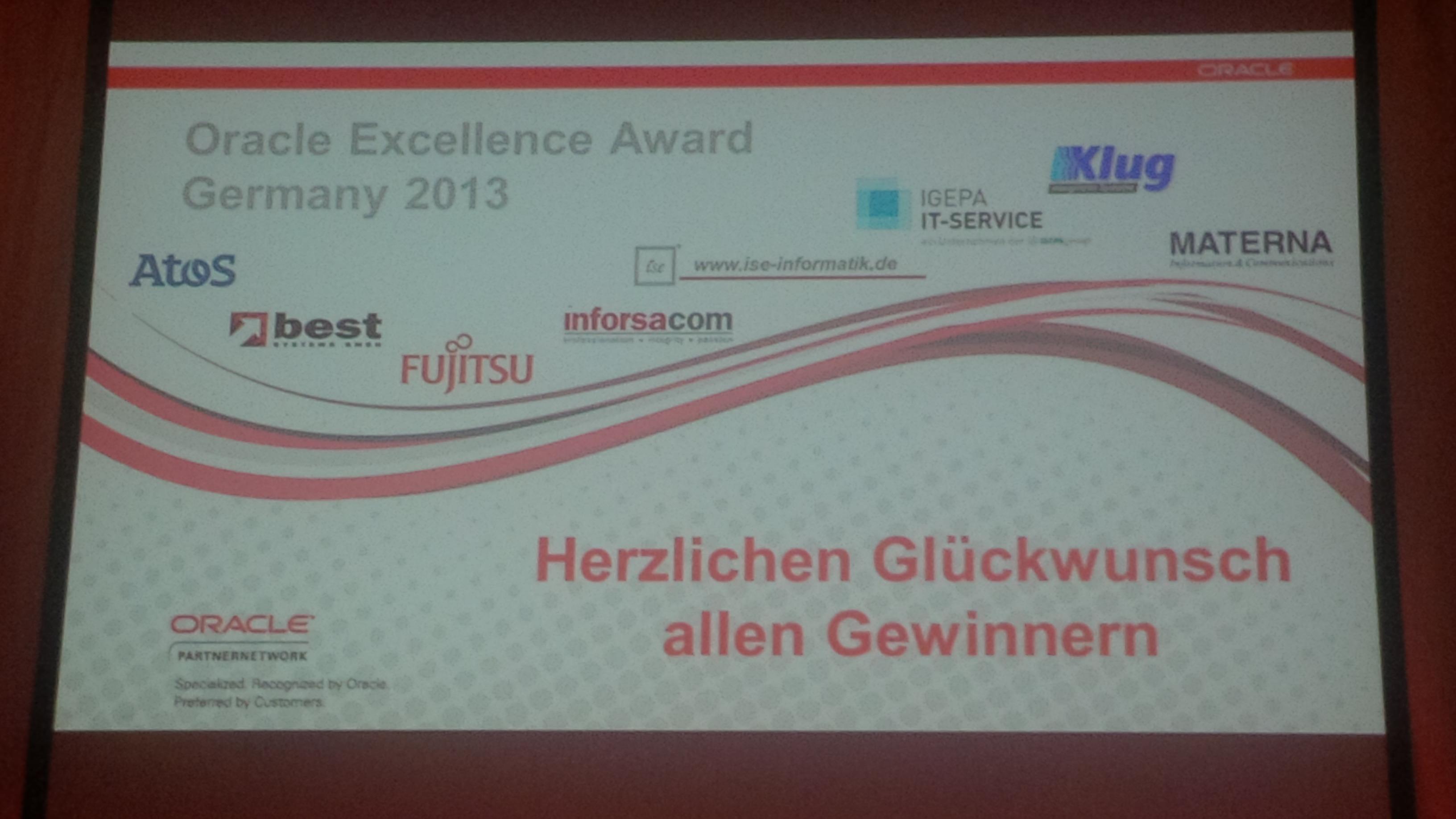 Klug wins Oracle Excellence Award