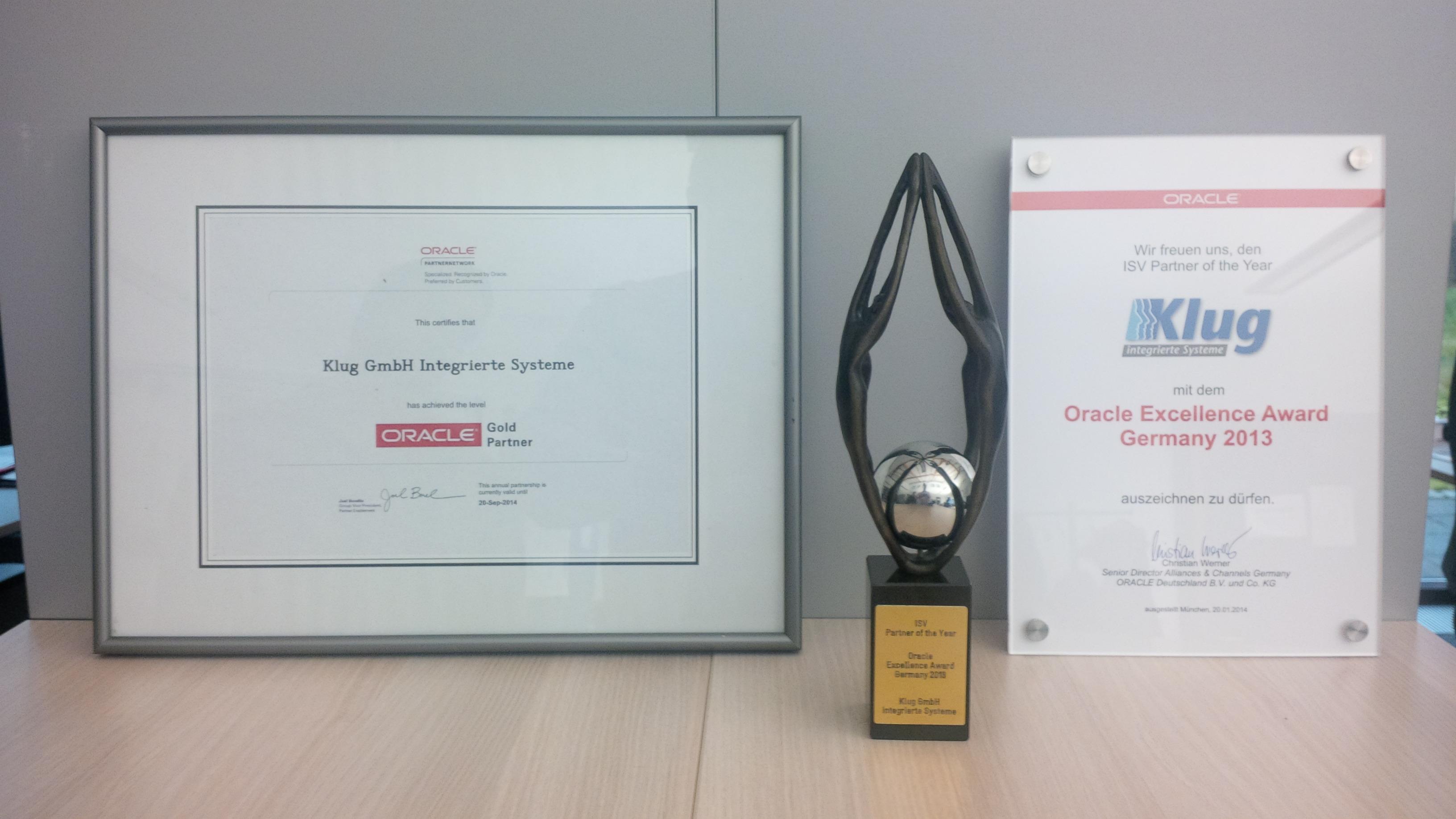 Oracle award at Klug